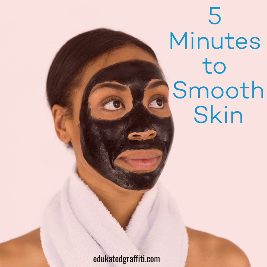 black woman with face cleansing mask on for smooth skin